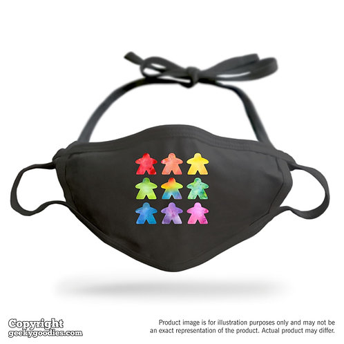The Watercolor Meeple Adjustable Cloth Face Mask