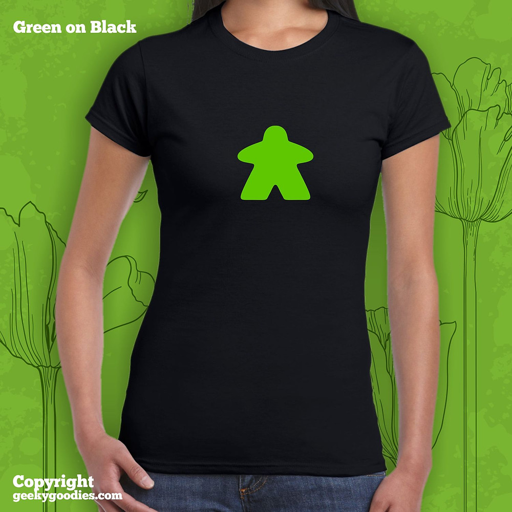 Green Meeple Tshirt | Women's Tshirts for Board Gamers | Geeky Goodies