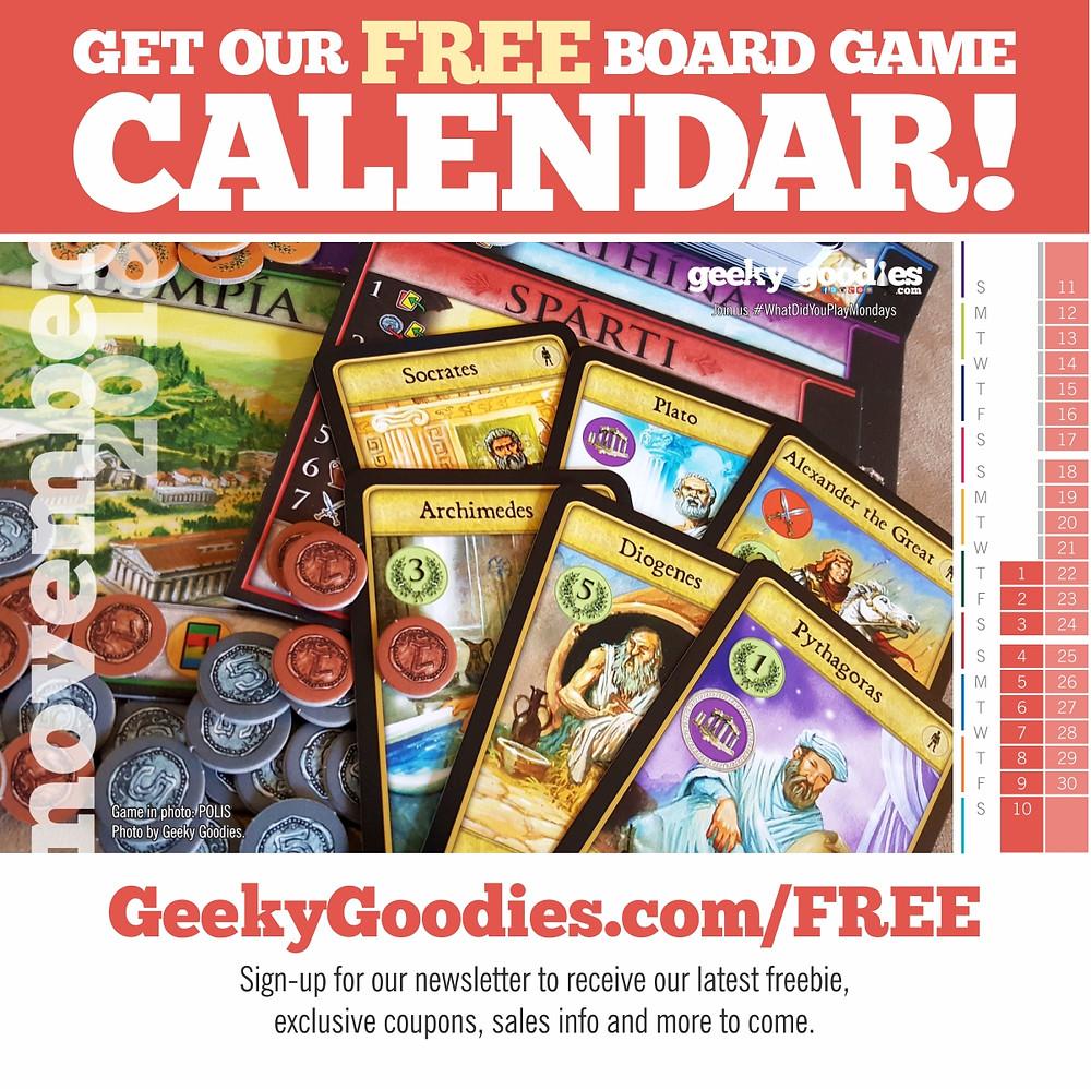 Board Game Calendar | FREE calendar for board gamers | Geeky Goodies | Free stuff