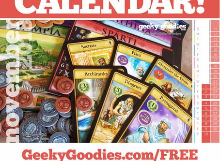 FREE Board Game Calendar for November 2018
