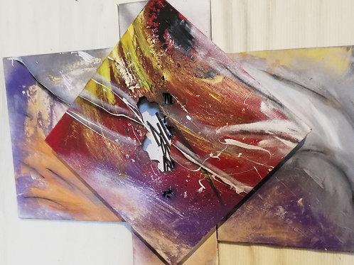 Violette 60x50cm lin et technique mixte