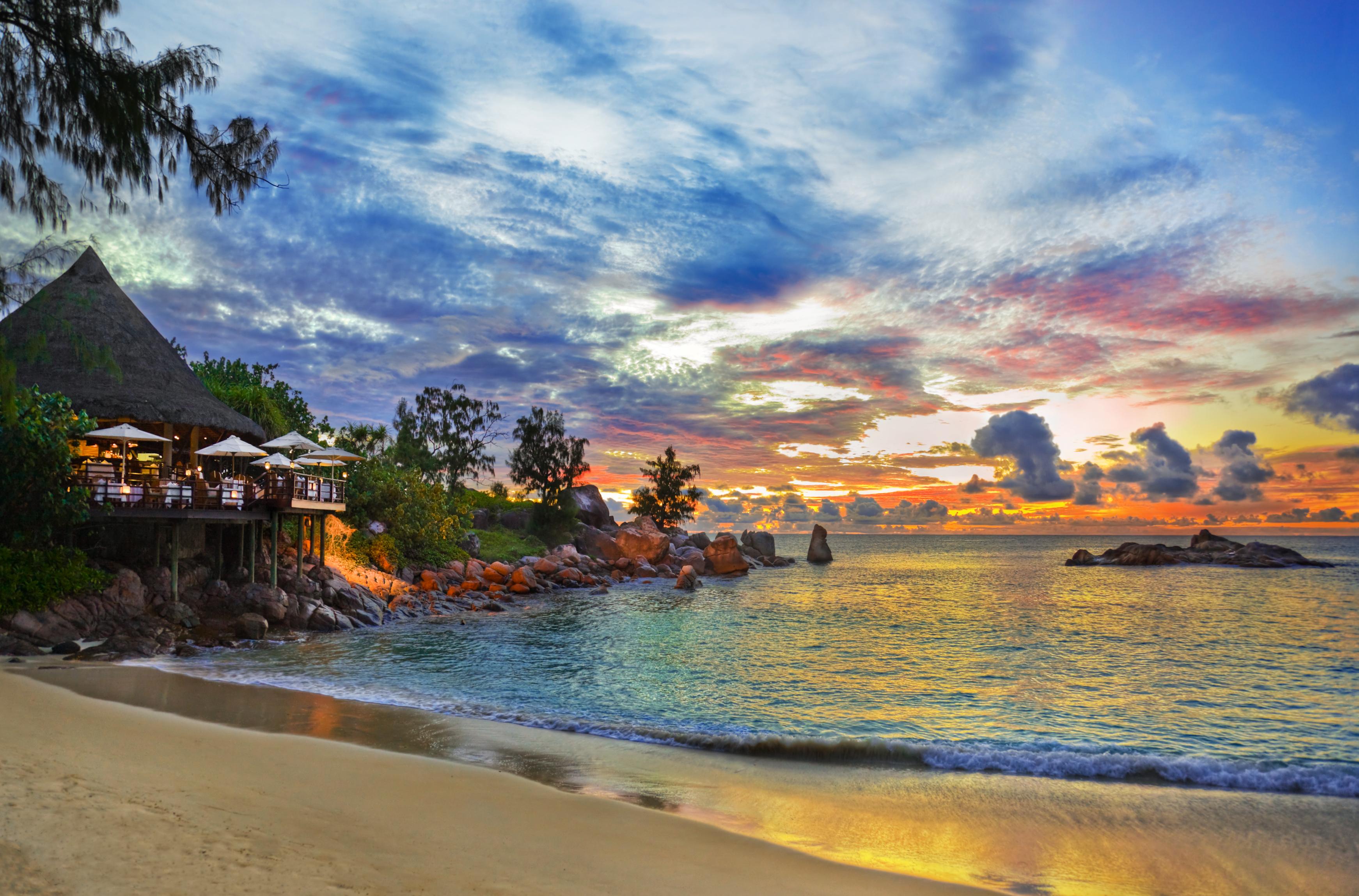 sunset hut on beach