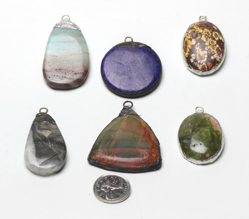 Hand soldered pendants fossil agates and crystals waterstone i designcreate an assortment of pendants using agates semi precious stones gems coins crystals beach glass and vintage objects set in a variety of aloadofball Image collections
