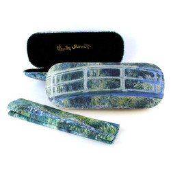 Étui à lunettes avec tissu pour lentilles, pont japonais, Claude Monet