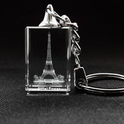 Porte-clé Tour Eiffel en verre de cristal premium