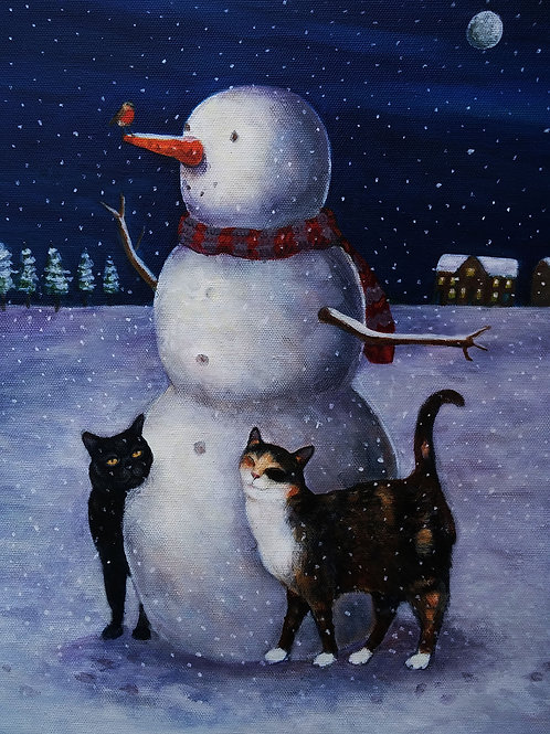Let It Snow- A5 High Quality Cats and Snowman Card