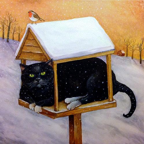 Cat on Bird Table Christmas Card