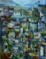 Cubist townscape painting
