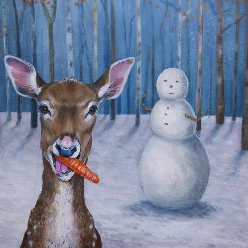 Cute Deer and Snowman Christmas Card