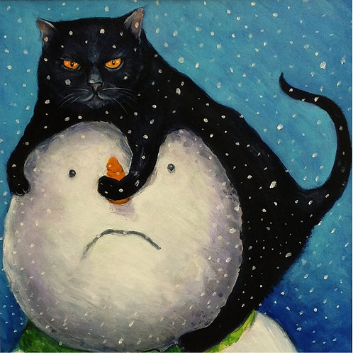 Cat and Snowman Christmas Card