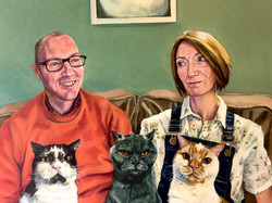 Family portrait with cats