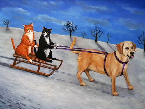 Sleigh Drivers- A5 High Quality Cats and Dog Card