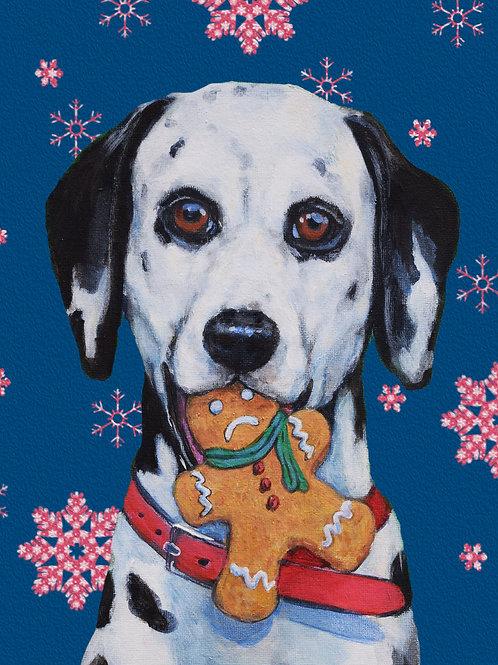 'Head First' High Quality Dalmatian Dog Christmas Card