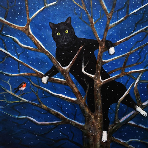 Cat in Tree Christmas Card