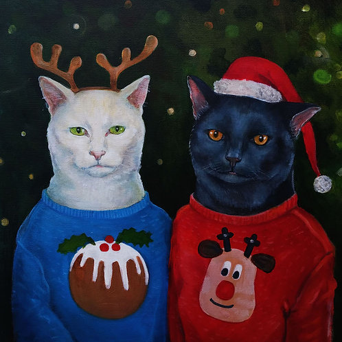 Cats in Christmas Jumpers Christmas Card