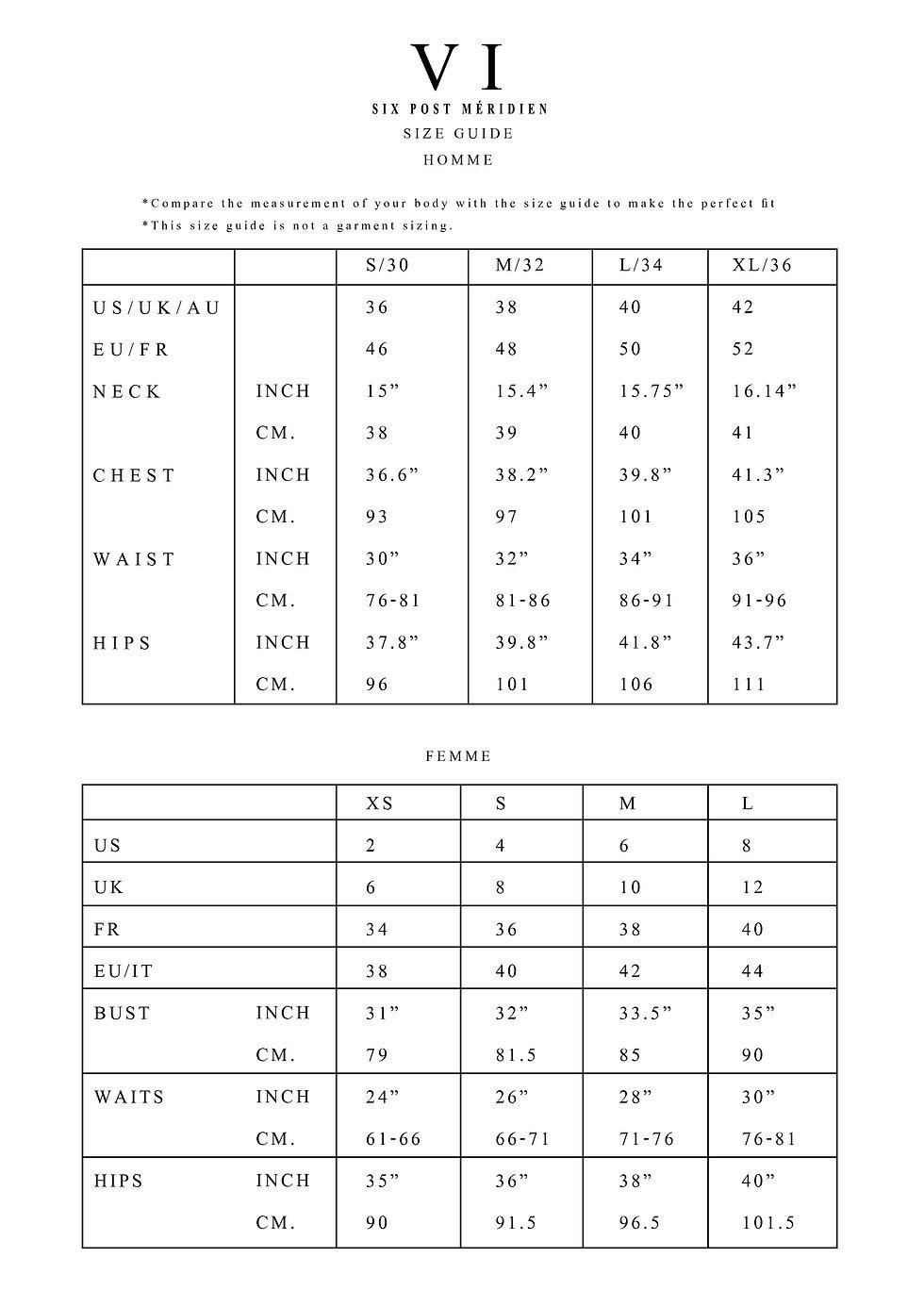 SIX P.M. size chart