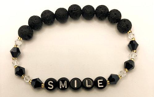 Lava Bead & Black Crystal Bracelet