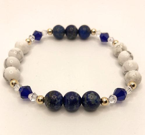 "Howlite Lapis Lazuli Gold Bracelet 7.25"""