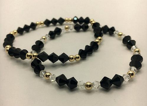 """Black Crystal Gold Bracelet Set 7.25"""""""