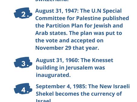 Next Week in Israel's History August 29-September 4