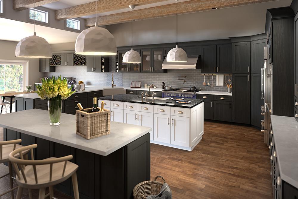 Dark Grey Shaker Kitchen Cabinets Design Showroom Cleveland Ohio