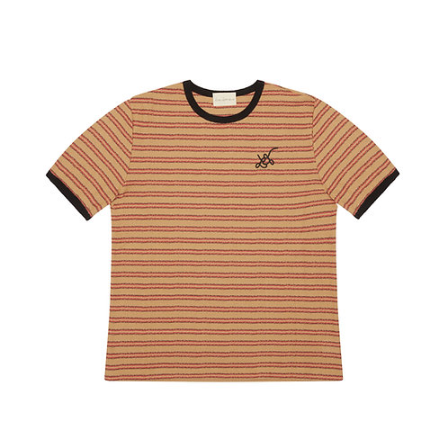 LOGO-EMBROIDERED STRIPED COTTON-JERSEY T SHIRT