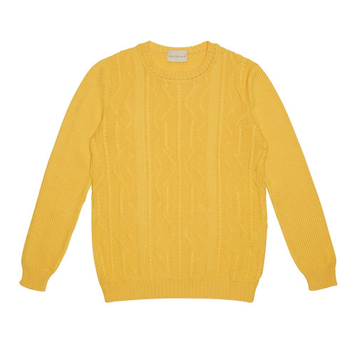 CABLED MERINO EXTRAFINE WOOL CREW-NECK SWEATER
