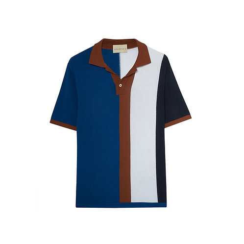 INTARSIA-STRIPED POLO SHIRT