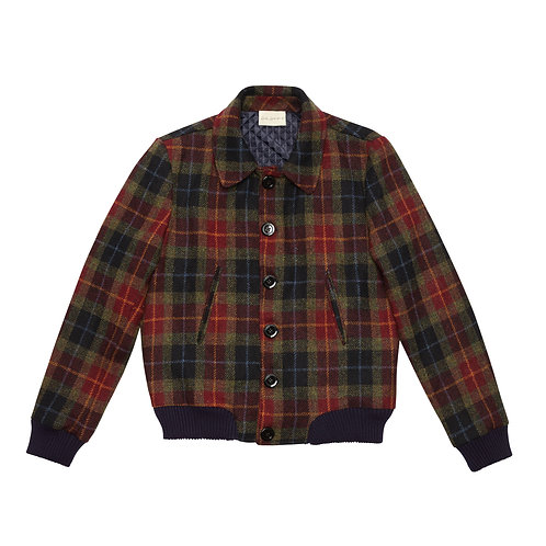 HARRIS TWEED CHECKED AND QUILTED WOOL BOMBER JACKET
