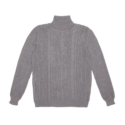 CABLED MERINO EXTRAFINE WOOL TURTLE-NECK SWEATER