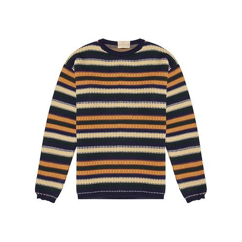MULTICOLORED JACQUARD-STRIPED WOOL CREW-NECK SWEATER