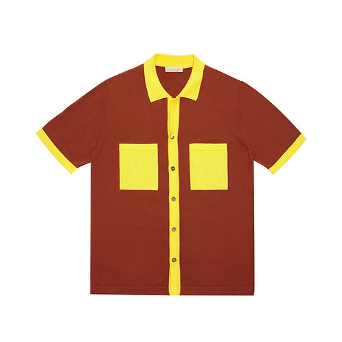 "COLOR-BLOCK KNITTED ""BOWLING"" SHIRT"
