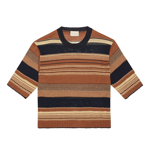 """KNITTED LINEN AND SILK-BLEND """"BOXY"""" T-SHIRT"""