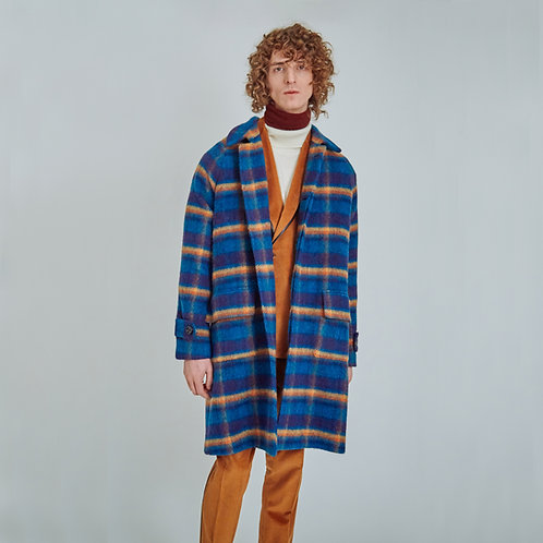 """MOSEY FOR LUCA LARENZA"" FUNKY-CHECKED WOOL OVERCOAT"