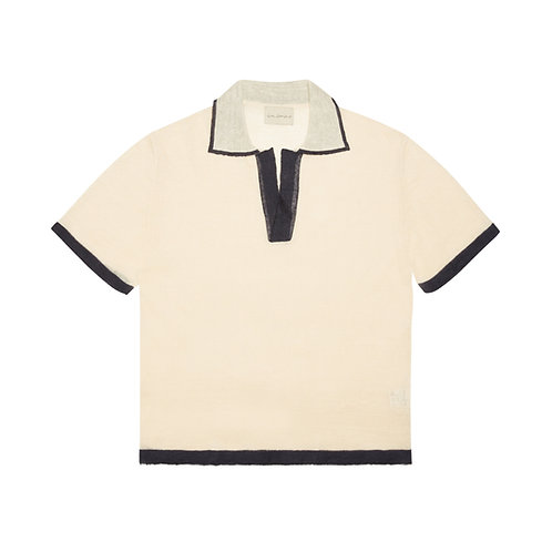 LIGHT-WEIGHT KNITTED LINEN AND SILK BLEND POLO SHIRT