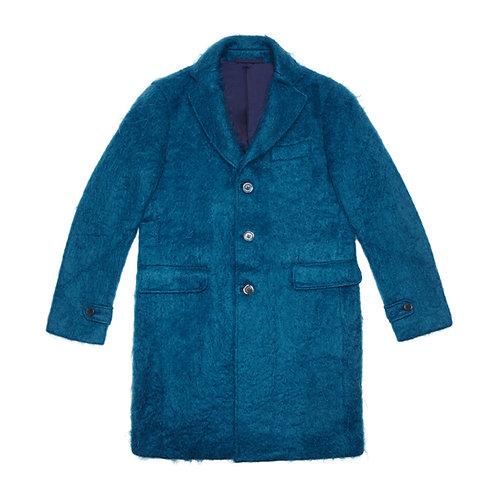 PETROL BLUE MOHAIR-BLEND COAT