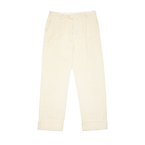 HIGH-WAIST & WIDE-LEG CORDUROY PLEATED TROUSERS