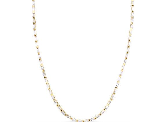 Diamond Baguette Line Necklace