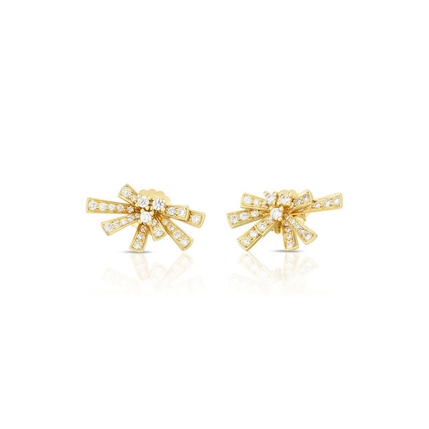 Modern Bow Earrings  - Yellow Gold