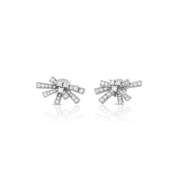 Modern Bow Earrings - White Gold