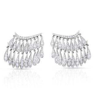 White Gold Fringe Earrings