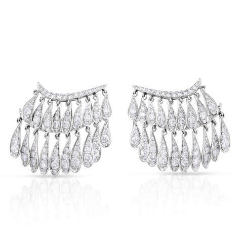White Gold Fringe Earrings