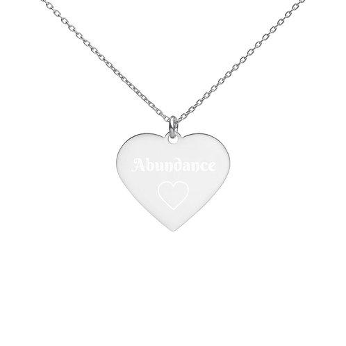 Abundance heart Engraved Silver Heart Necklace