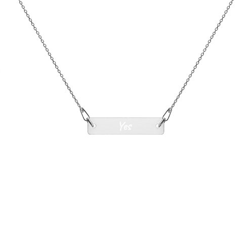 Yes Engraved Silver Bar Chain Necklace