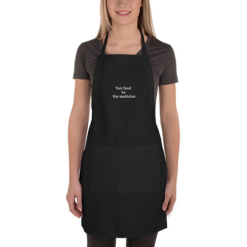 Let food be thy medicine, Black Embroidered Apron