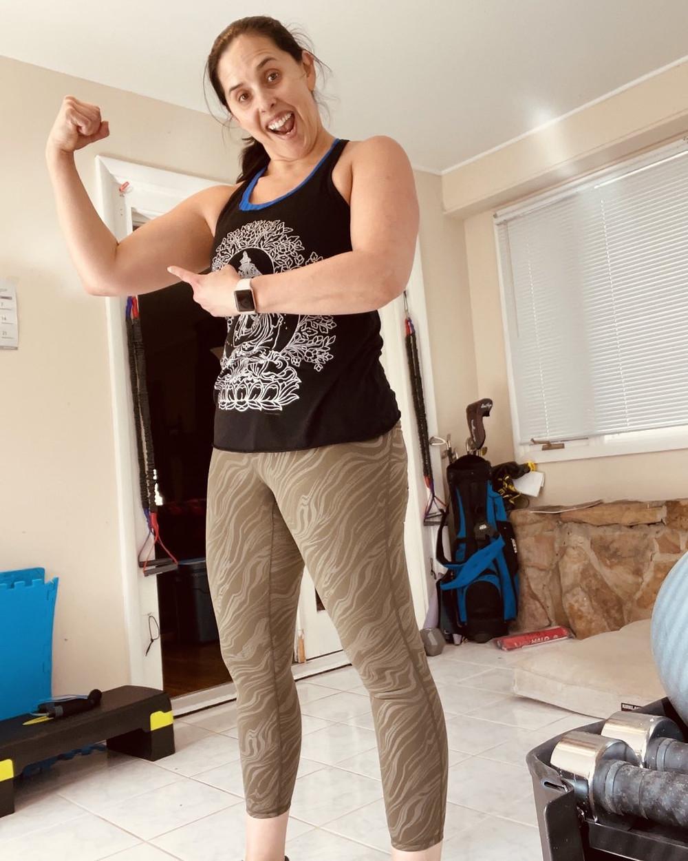 Feeling good, sweaty selfie, silly selfie, pursuing health, flexing