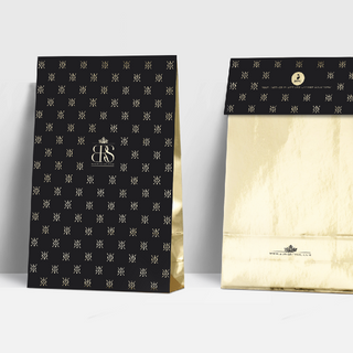 Design for a gold gift bag for Bong Retail Solutions