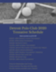 Detroit Polo Club 2020 Tentative Schedul