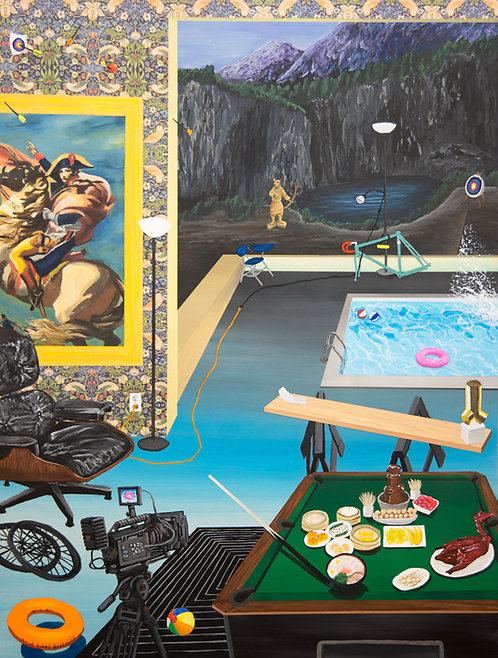 Emperor, pretty mountains, pool party, falling Brancusi, a floating pool float.