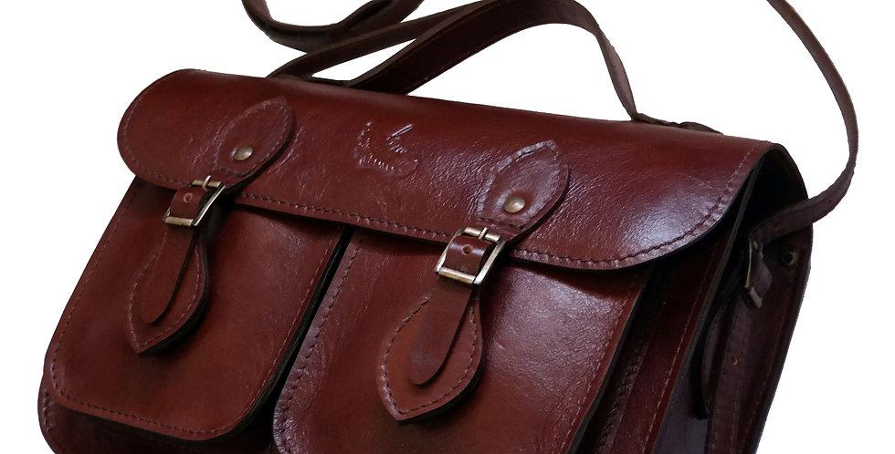 Bolsa e Pasta Satchel Pockets Line Store Leather Couro Marrom Avermelhado